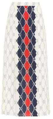 Gucci Printed silk midi skirt