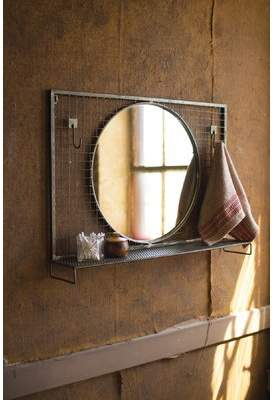 Gracie Oaks Wolak Round Wire Mesh Wall Hooks and Metal Shelf Accent Mirror