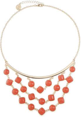 Liz Claiborne Womens Orange Statement Necklace