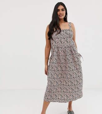Asos DESIGN Curve overall midi sundress with pocket detail in leopard print