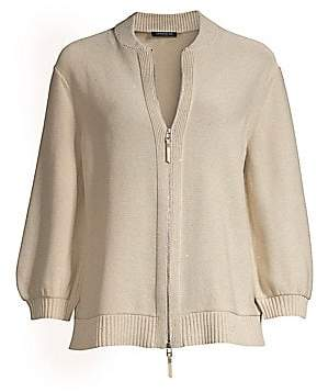 Lafayette 148 New York Women's Fitted Sequin Knit Bomber Cardigan