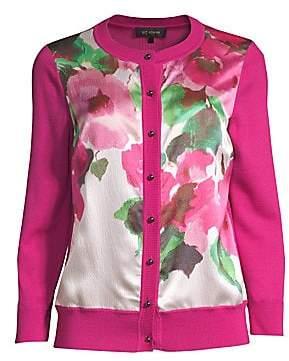 St. John Women's Merino Wool Floral Cardigan