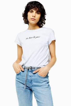 Topshop Womens Petite Be True To You T-Shirt - Grey