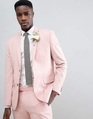 Farah Smart Skinny Suit Jacket In Pink