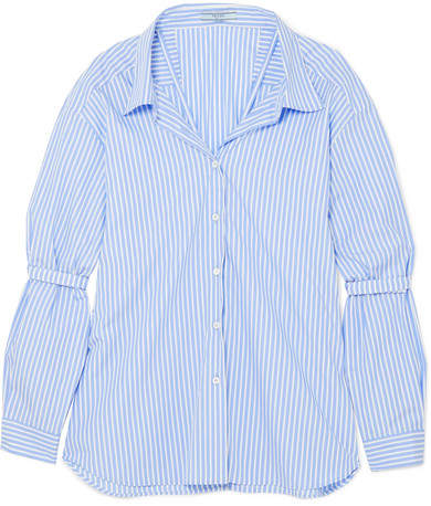 Prada - Oversized Striped Cotton-poplin Shirt - Blue