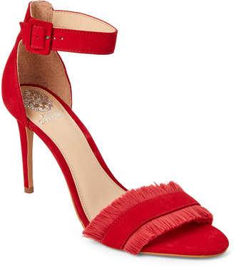 Vince Camuto Cherry Red Joshina Fringed High Heel Sandals