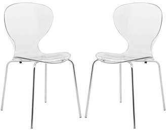 clear LeisureMod Modern Oyster Side Chair in Clear, Set of 2