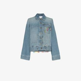 Mira Mikati oversized tasselled cotton blend denim jacket