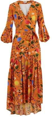 Borgo de Nor Ingrid Garden Print Silk Dress - Womens - Orange Print