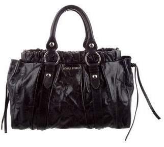 Miu Miu Cracked Leather Satchel