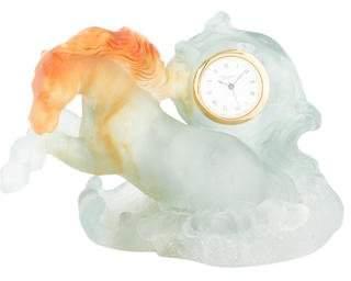 Daum Pâte de Verre Horse Clock