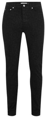 Topman Mens Black Leopard Print Tapered Jeans
