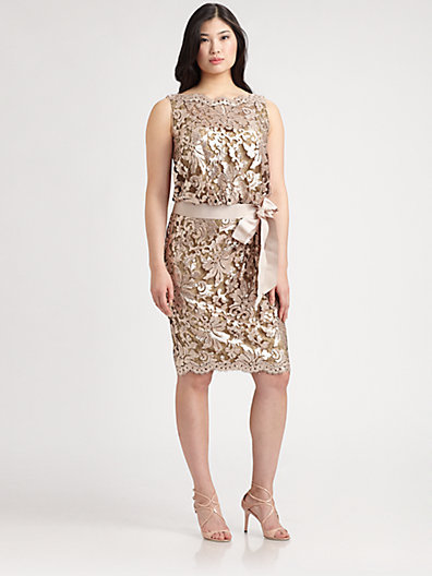 Tadashi Shoji, Sizes 14-24 Metallic-Lace Sheath Dress