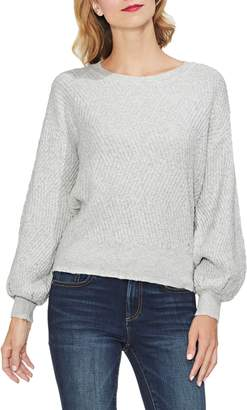 Vince Camuto Textured Balloon Sleeve Cotton Blend Sweater