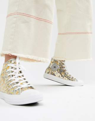 Converse Chuck Taylor All Star hi silver and gold sequined sneakers