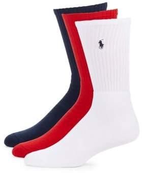 Polo Ralph Lauren Ribbed Crew Socks, 3-Pack