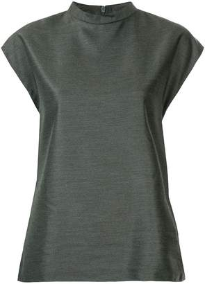 Tibi Drape Mock Neck Sleeveless Top