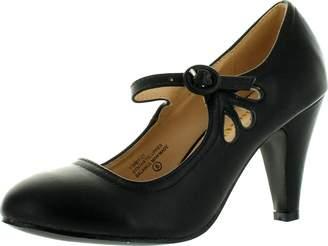 Chloé Chase & Kimmy-21 Women's Round Toe Pierced Mid Heel Mary Jane Style Dress Pumps