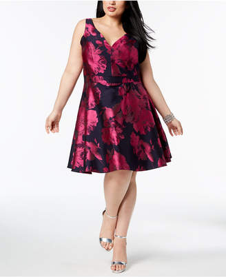 Xscape Evenings Plus Size Printed Fit & Flare Dress