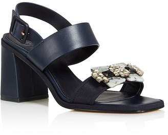 Tory Burch Women's Delaney Embellished Leather Block Heel Sandals