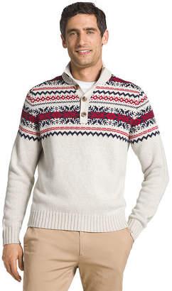 Izod Fairisle Button Mock Sweater Mock Neck Long Sleeve Pullover Sweater