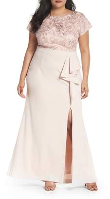 Adrianna Papell Sequin Embroidered Bodice Gown