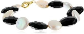 Faceted Onyx Coin and White Coin Freshwater Cultured Pearl Gold Over Sterling Silver Clasp Bracelet
