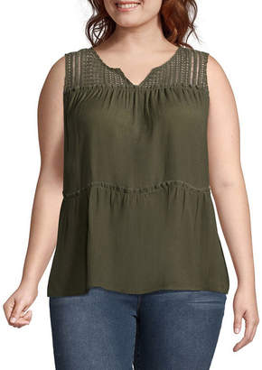 A.N.A Sleeveless Lace Yoke Tank - Plus