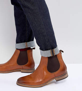 Asos Wide Fit Chelsea Boots In Brown Leather With Natural Sole