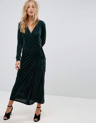 Vila Velvet Pleated Wrap Midi Dress