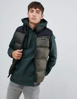 Schott nylon puffer two tone vest in green/black