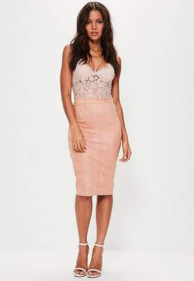 Missguided Faux Suede Midi skirt Pink