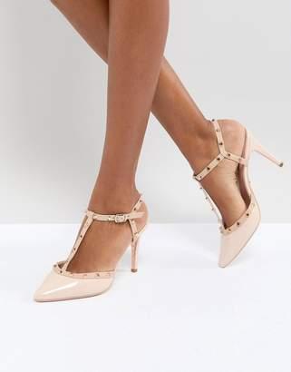 Dune London Catelyn Leather Studded Heeled Shoes