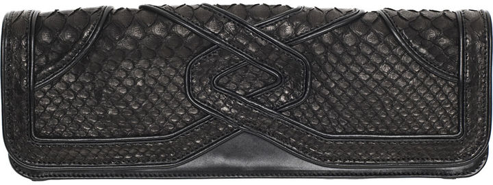 Katherine Fleming Jane Python Clutch - Black