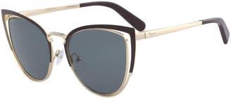 Salvatore Ferragamo Colorblock Cutout Cat-Eye Sunglasses