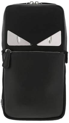 Fendi Backpack Monster Eye One-shoulder Backpack In Leather And Nylon With Eyes Bag Bugs Metallic Application