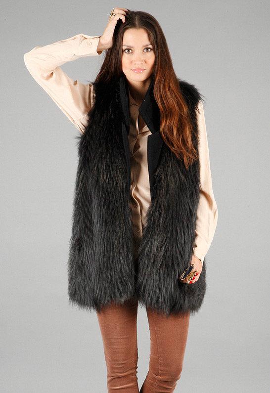 Isabella Fur Vest in Grey - by Nonoo