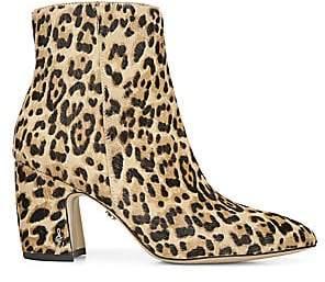 Sam Edelman Women's Hilty Leopard Calf Hair Point Toe Ankle Boots