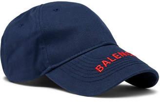 Balenciaga Logo-Embroidered Cotton-Twill Baseball Cap - Men - Navy