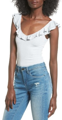 Women's Leith Ruffle Stretch Knit Bodysuit $45 thestylecure.com