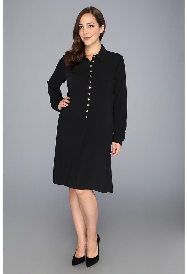 Calvin Klein Plus Size Collar Dress W/ Bottons (Black) - Apparel