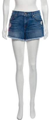 7 For All Mankind Embellished Denim Mini Shorts w/ Tags