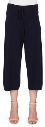 Victoria Beckham Cashmere Jogger Pants W/Silk Trim, Navy $1,520 thestylecure.com