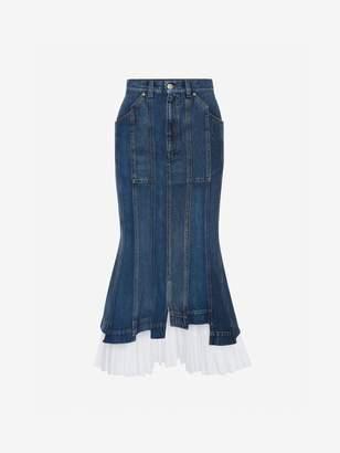 Alexander McQueen Denim Midi Skirt