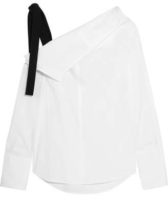 Proenza Schouler - Grosgrain-trimmed Asymmetric Cotton-poplin Top - White $690 thestylecure.com