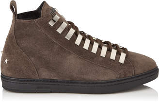 Jimmy Choo COLT Smoke Velvet Suede High Top Trainers with Fur Lining