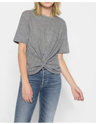 7 For All Mankind Knotted Front Tee In Heather Grey