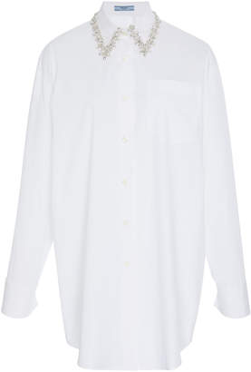 Prada Embellished Collar Cotton Shirt