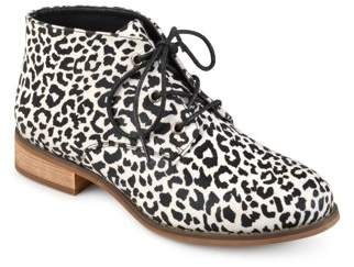 Brinley Co. Women's Faux Leather Stacked Wood Heel Lace-up Print Booties
