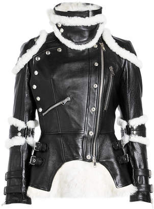 Alexander McQueen Leather Biker Jacket with Shearling